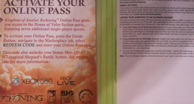 Kingdoms of Amalur online pass