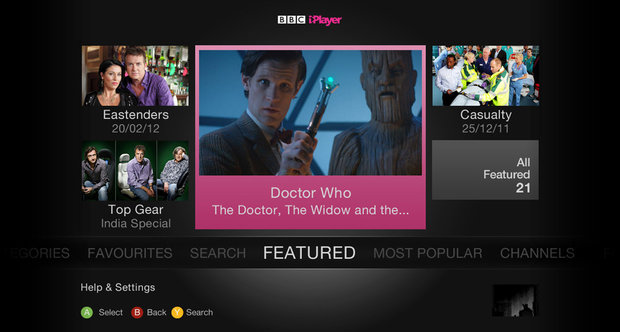 BBC iPlayer Xbox 360 screenshots