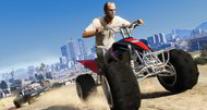 New Grand Theft Auto 5 screens show an ATV chase, Los Santos skyline
