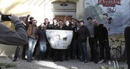 Rayman creator, team pose with Rayman Legends protestors