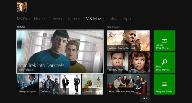 Xbox One Movies and TV UI