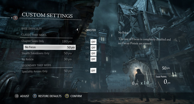 Thief UI and difficulty options screenshots